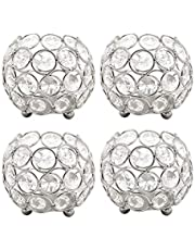 VINCIGANT 4Pcs Tea Light Votive Candle Holders, Silver Crystal Candle Stand for Wedding Home Party Table Centerpiece Decorative Candlestick Holder