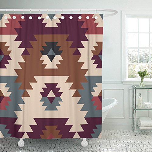 """Emvency Shower Curtain 66""""x72"""" Polyester Fabric American Prairie Abstract Ethnic Tribal Design Native The Of Textiles Fabrics Waterproof Adjustable Hook"""