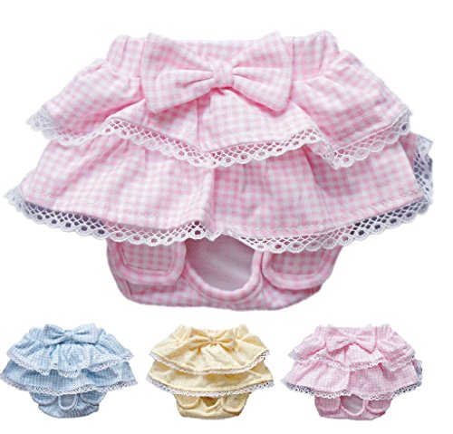 Four Napkins (Dog SKIRT Diaper Female Sanitary Pant Dress Ruffles Cotton For SMALL Breeds DELIVERY TIME 2 - 4 DAY (PINK, LARGE: Waist 11