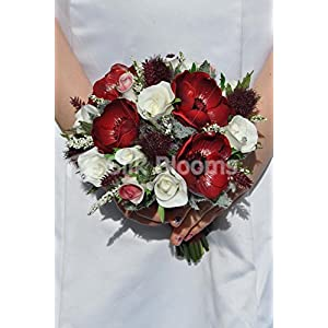 Scottish Inspired Burgundy Anemone and Thistle Bridesmaid Bouquet with Roses 5
