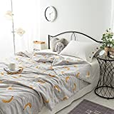 KFZ Cotton Quilt Comforter Cotton Bedspread Bed Cover for Bedding Set CJF SXMMH twin Full Queen Size Necklace Plaid Banana Fruit Design for Kids Adults Teens 1pc (Banana, Grey, Queen 78''x91'')