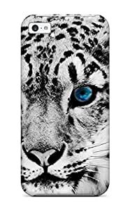 Top Quality Rugged Snow Blue Eye Leopard Case Cover For Iphone 5c WANGJING JINDA