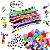 Willcome Creative 450 Pieces Pipe Cleaners Set, Including 200 Pcs Pom Poms, 150 Pcs Self-Sticking Wiggle Googly Eyes and 100 Pcs Chenille Stems for Craft and Hobby Supplies
