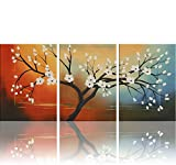 Ode-Rin Hand Painted Oil Paintings White Flowers 3 Panels Wood Inside Framed Hanging Wall Decoration Picture