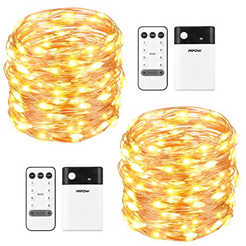 Mpow 33ft 100 LED Battery Operated String Lights, Fairy String Lights Remote Control, Decorative Lights Dimmable, Copper Wire Lights Bedroom, Patio, Garden, Parties (2 Colors ()