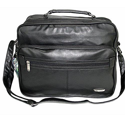LEDER-OPTIK Schultertasche Flugbegleiter Umhängetasche Business Messenger Bag Arbeitstasche Tasche Schwarz NEU YIP3uhP
