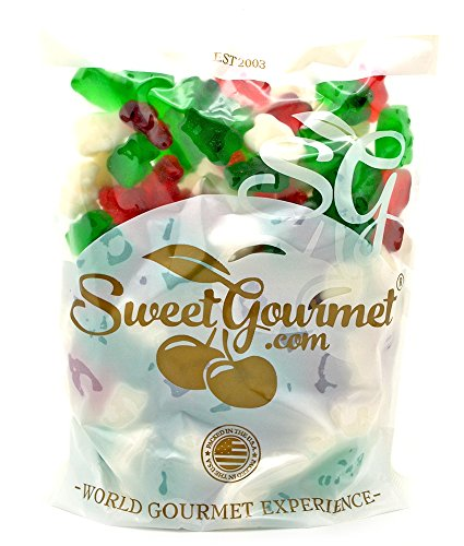 SweetGourmet Christmas Gummi Bears | Red, Green, White | Holiday Candy | 1.5 pounds
