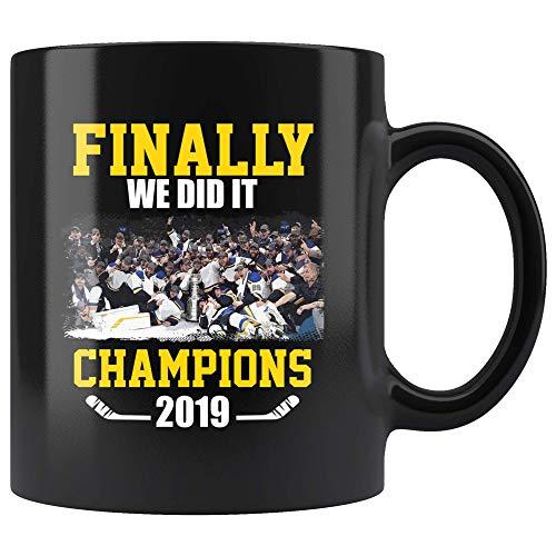 - Finally We Did It Champions 2019 St. Louis Jersey Hockey Big Gift Fan Customized Handmade 11oz Black Mug