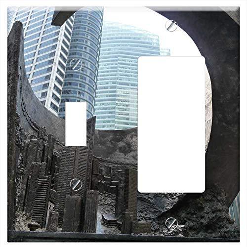 1-Toggle 1-Rocker/GFCI Combination Wall Plate Cover - Singapore Big City Skyscraper Asia Sculpture