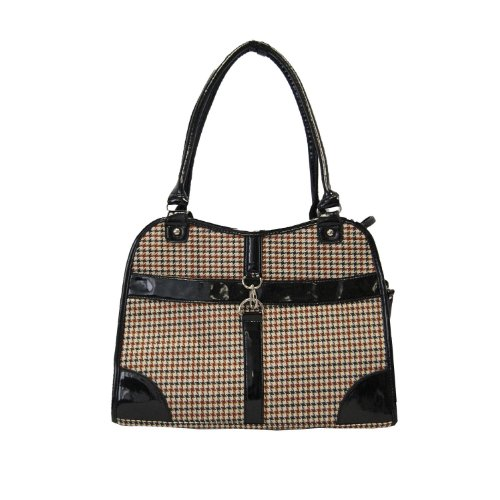 Houndstooth Print Tote Pet Dog Cat Carrier/Tote Purse Travel Airline Bag -Brown-Medium -