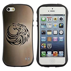 Suave TPU GEL Carcasa Funda Silicona Blando Estuche Caso de protección (para) Apple Iphone 5 / 5S / CECELL Phone case / / wolf tribal tattoo ink black brown hound /