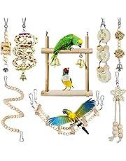 Queenser 8 peças Brinquedos para mastigar papagaio Brinquedos para pássaros Balanço de madeira Escada macia Escada de madeira Contas de madeira Escadas giratórias para calopsita, araraujo, Mynah, Macow e