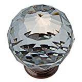 GlideRite Hardware 9003-ORB-40-50 K9 Crystal with Oil Rubbed Bronze Base Cabinet Knobs, 50 Pack, Large, Clear