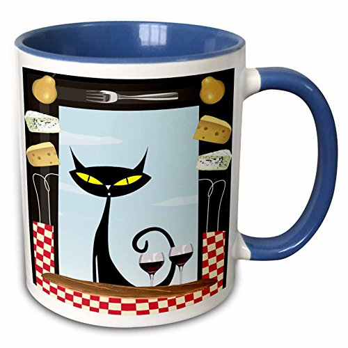 3dRose Spiritual Awakenings Cats Animals - Gourmet food frame cheese, checkered table cloth, wine glasses and a black fancy cartoon cat - 15oz Two-Tone Blue Mug (mug_128912_11) ()