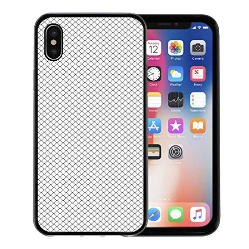 - Emvency Phone Case for Apple iPhone Xs Case/iPhone X Case,Mesh Black Fishnet Net Pattern Graphic White Soccer Metal Soft Rubber Border Decorative, Black