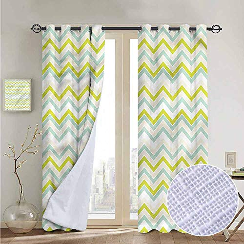 NUOMANAN Customized Curtains Chevron,Pastel Green Shades Retro,Blackout Draperies for Bedroom Living Room -