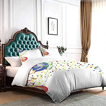Image of dsdsgog Classic Bedding Set Kids Party,Childrens Birthday Concept with Balloons and Confetti Happy Surprise Cheerful,Multicolor 90x104 inch Wrinkle Fade and Stain Resistant Home and Kitchen