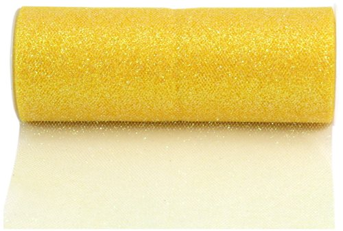 (Kel-Toy Glitter Tulle Fabric, 6-Inch by 10-Yard, Lemon Yellow)