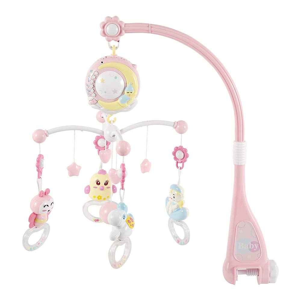 Baby Rattles Crib Mobiles Toys Holder with Lights and Music Rotating Crib Mobile Bed Musical Box Projection for Newborn Infant Baby Boys and Girls Pink