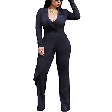 e771cbad88a41 Amazon.com: Womens Sexy Lapel Collar Long Sleeve Wide Leg Jumpsuits Blazer  Suit Outwear: Clothing