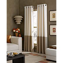 Curtainworks Kendall Color Block Grommet Curtain Panel, 52-Inch by 108-Inch, Ivory
