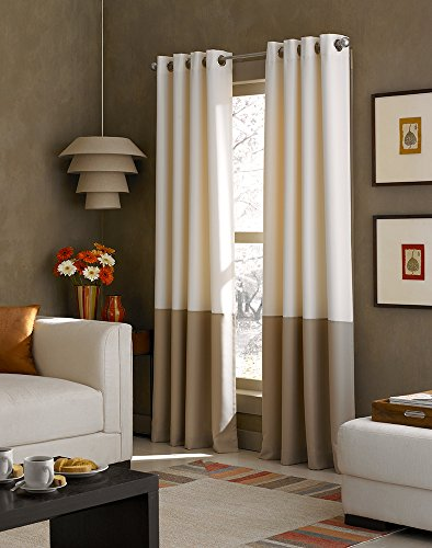 Kendall Color Block Grommet Curtain Panel, 84-Inch, Ivory