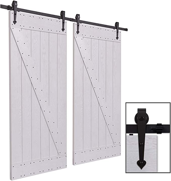 CCJH 6.6FT-200cm Herraje para Puerta Corredera Kit de Accesorios para Puertas Correderas Rueda Riel Juego para Dos Puertas de Madera: Amazon.es: Bricolaje y herramientas