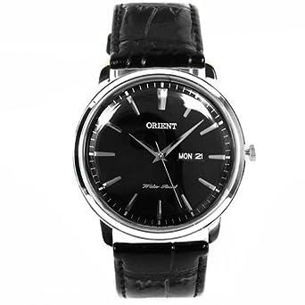 Orient Herren 43mm Schwarz Leder Armband Edelstahl GehÄuse Datum Uhr FUG1R002B6