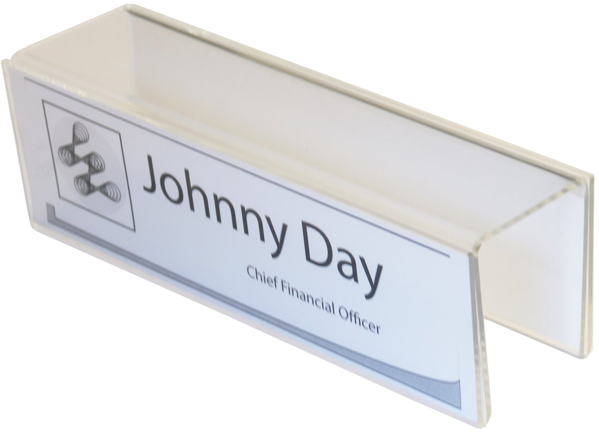 Plastic Products Mfg Double-Sided Cubicle Name Plate Holder 8-1/2'' wide x 2-1/2'' high x 2'' deep - PNH2085025020 (40 Pack)