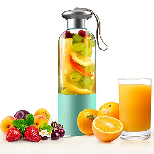 MOREFINE Portable Juicer Blenders Fruit Mixing Machine Electric Mixer Fast Juicer Portable Squeezer Water Bottle 380ML Juice Cup with 3000mAh Battery USB Rechargeable Personal Gift