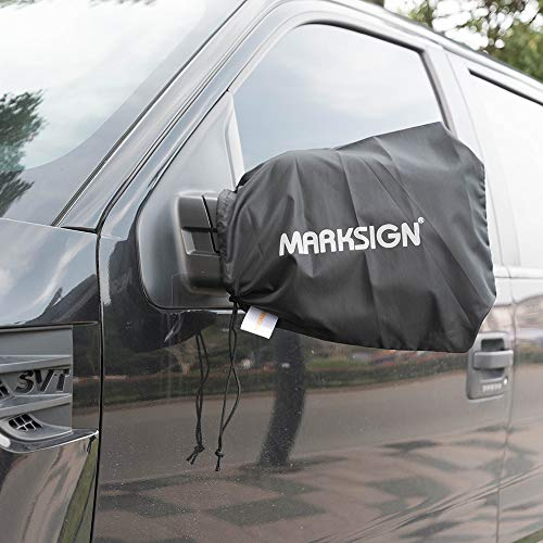 MARKSIGN Waterproof Rear Mirror Covers, Set of Two, Universal Fit for All Vehicles, Protects from Snow, Ice, Frost and Bird Droppings