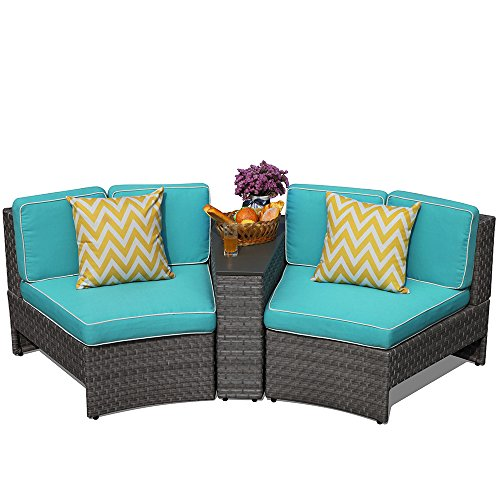 Aluminium Outdoor Furniture - PATIOROMA Outdoor Patio Furniture Wicker 3 Piece Sectional Sofa Seating Set with Blue Seat and Back Cushions, Aluminium Frame, Gray PE Wicker