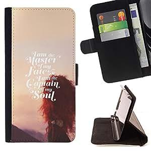 BullDog Case - FOR/Samsung Galaxy S6 / - / master of fate soul sunset inspirational /- Monedero de cuero de la PU Llevar cubierta de la caja con el ID Credit Card Slots Flip funda de cuer