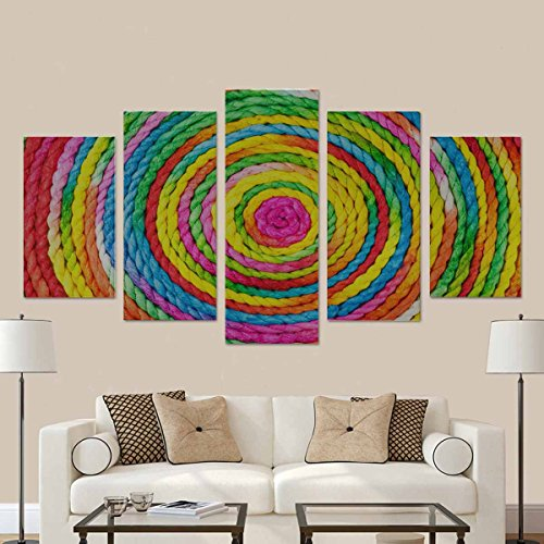 Mulberry Wall Border (InterestPrint Colorful Rope Circle Made From Mulberry Paper 5 Pictures Paintings on Canvas Wall Art for Living Room Bedroom Home Decorations (No Frame))