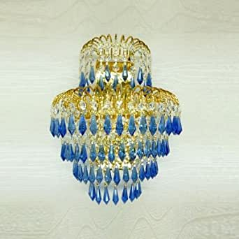wld Extraordinary Three-light Wall Sconce Adorned with Unique Blue Faceted Crystal Drops and Gold Finish Frame Creating Magnificent Look