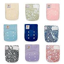 Newborn Diaper Pack! 12 KaWaii Little Green Baby Bamboo Cloth Diapers+24 Bamboo Inserts