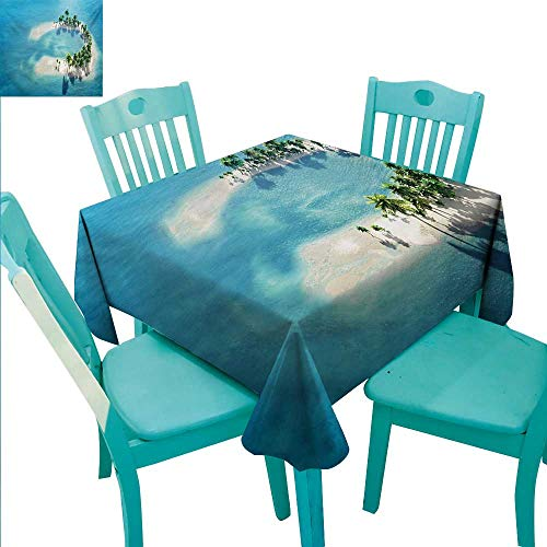 (WilliamsDecor Island Fabric Dust-Proof Table Cover Picture of Atoll Ring Shaped Island Covered with Palm Trees in Middle of Ocean Indoor Outdoor Camping Picnic 70