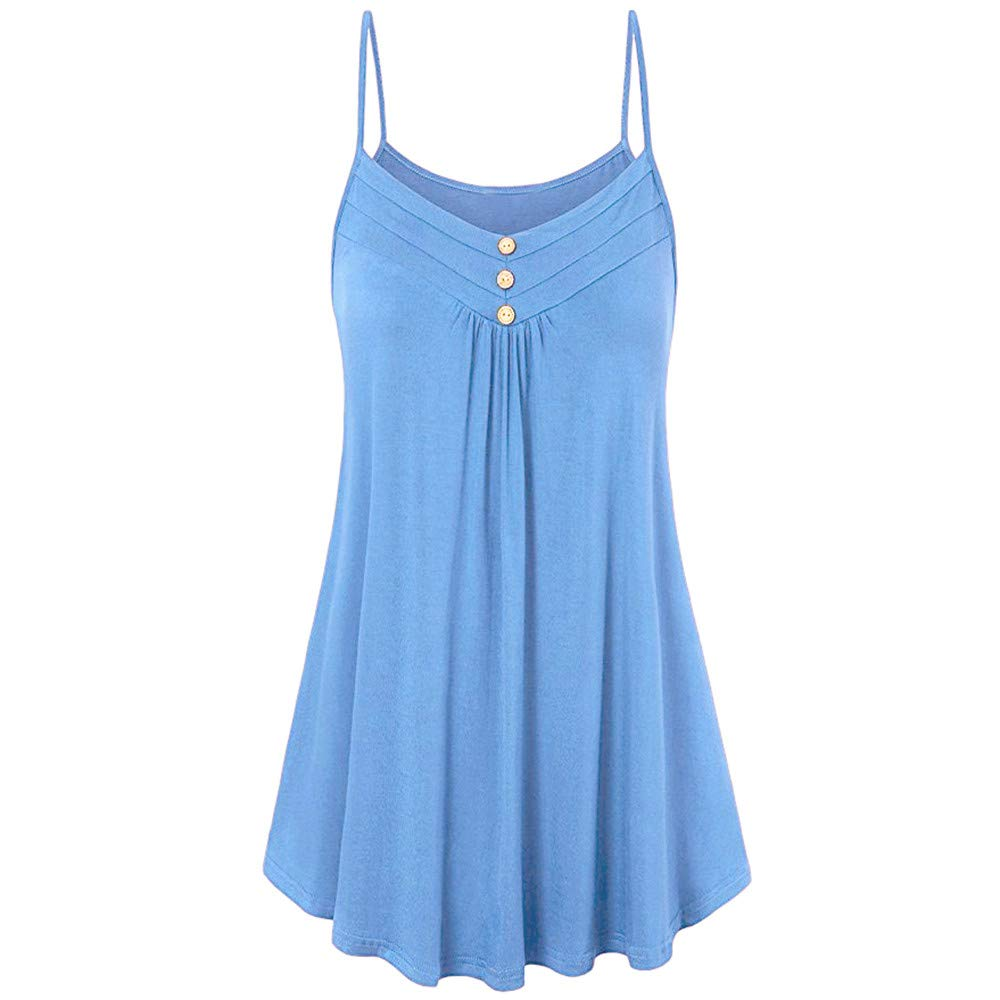 iLUGU Women Summer Loose Cami Button V Neck Polo Shirt Tank Top Strapless Sleeveless Vest Blouse Sky Blue