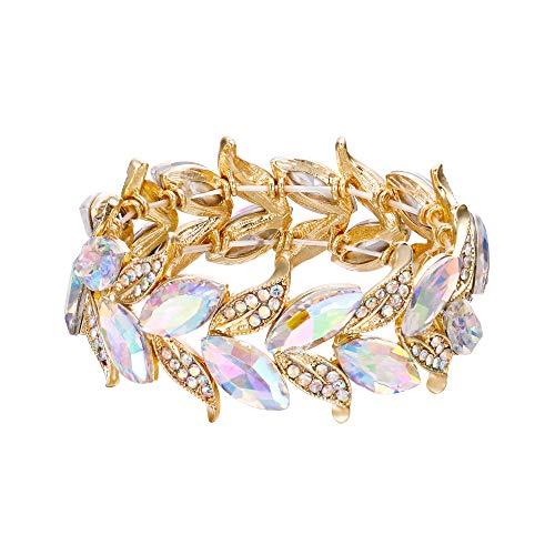 (BriLove Wedding Bridal Bracelet for Women Marquise-Shape Leaf Stretch Bangle Bracelet Iridescent AB Gold-Toned)