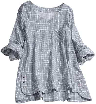b6bd2548fe80 TWGONE Plaid Shirts for Women Tunic Plus Size Tops Tee Vintage Button Loose  Blouse T Shirt