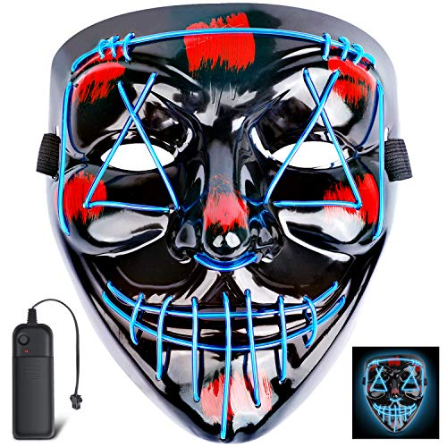 Halloween Scary Mask Costume Mask EL Wire Light up LED Mask for Halloween Cosplay Festival Party Fit Adults, Kids,