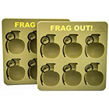 2 Pack Grenade Ice Cube Tray Silicone Green 17cm x 17cm x 6cm Comes With Stainless Steel Bottle Opener
