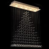 Dst Modern Rain Drop Chandelier Crystal Ceiling Light Lamp with 5 Lights for Living Room, Study Room L31.5