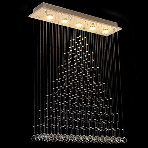 Dst Chandelier Modern Crystal Raindrop Chandeliers Lighting Flush Mount LED Ceiling Light Fixture Glass Pendant Lamp for Dining Living Room Bedroom Cafe Staircase Required GU10X5 L31.5 W8 H41