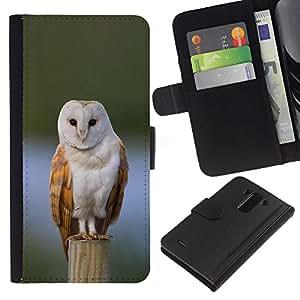 A-type (Owl Winter Snow Perched Feathers White) Colorida Impresión Funda Cuero Monedero Caja Bolsa Cubierta Caja Piel Card Slots Para LG G3