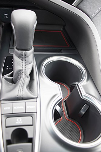 Custom Fit Cup Holder and Door Liner Accessories for 2018 2019 Toyota Camry 16-pc Set (Red Trim)