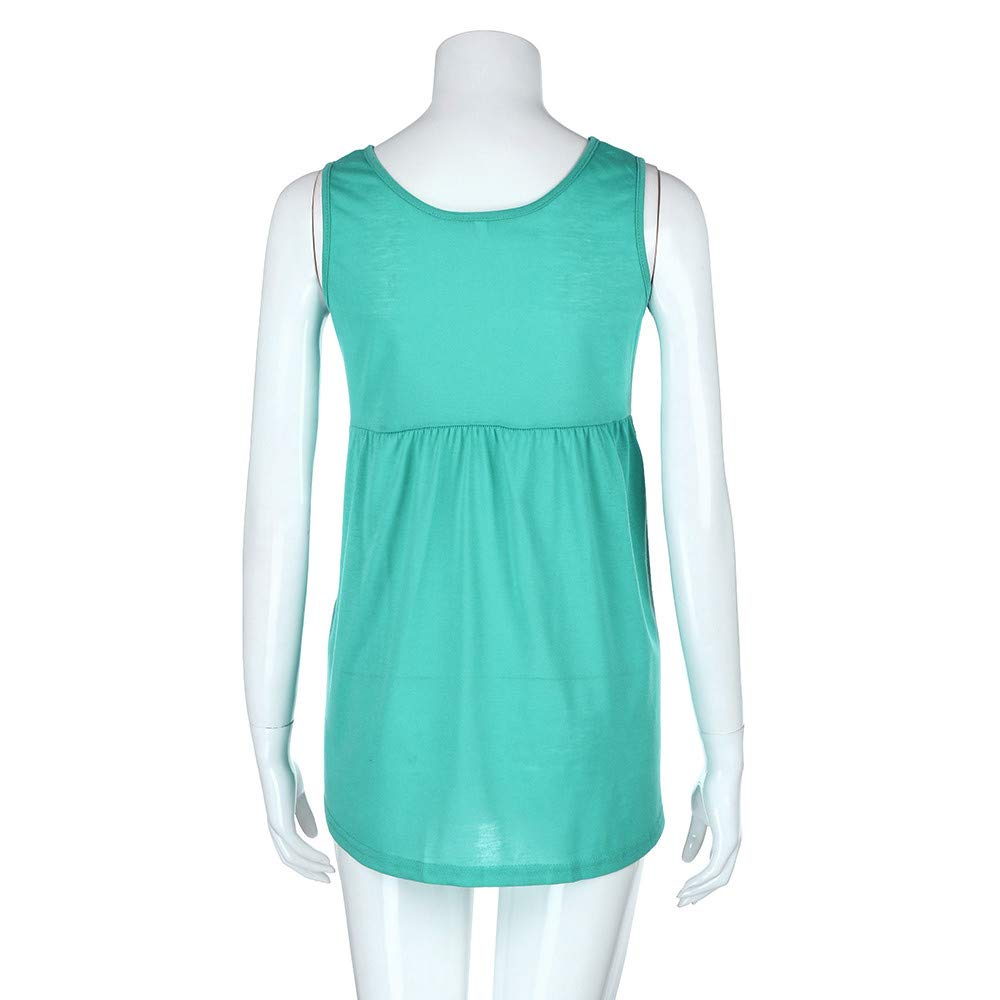Women Fashion Plus Size Sleeveless Vest Summer Top Scoop Neck Cotton Cami Shirt Polo Blouse Green by iLUGU (Image #3)