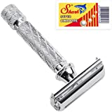 Parker 87R Butterfly Open Double Edge Safety Razor - Traditional Short Handle - 5 Premium Blades Included