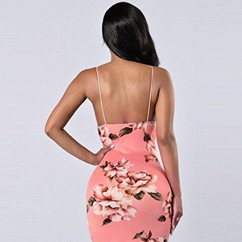 benda Vestiti Zarupeng abito aderente top Casual Donna spalline estate Rosa popolare fiori Vestito stampa senza RRpHgf7