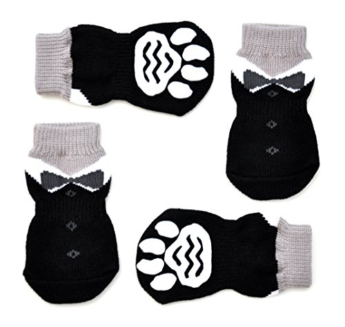 Posch Pet Socks for Dogs. Anti-Slip Knit Socks with Traction Soles for Indoor Wear. Slip On Paw Protectors. (M, Black) - Outfit Booties